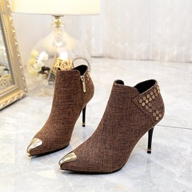 Cloth Side Zipper Rivets Sequin Pointed Toe Women's Boots
