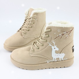 Faux Suede Animal Lace-Up Front Snow Boots