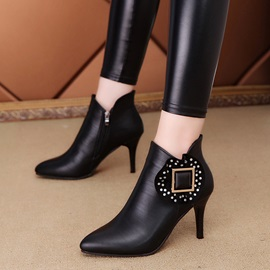 PU Patchwork Rhinestone Sequin Ankle Boots