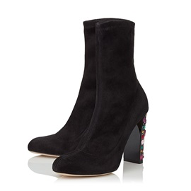 Faux Suede Slip-On Women's Black Boots