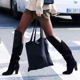 Faux Suede Chunky Heel Women's Black Boots