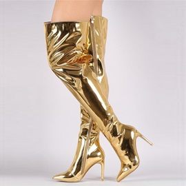 Patent Leather Pointed Toe Shining Women's Boots