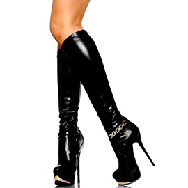 PU Side Zipper Stiletto Platform Knee High Boots