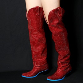 Rhinestone Chunky Heel Women's Knee High Boots