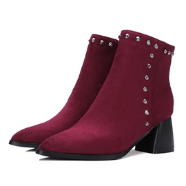 Rivet Pointed Toe Side Zipper Chunky Heel Women's Boots