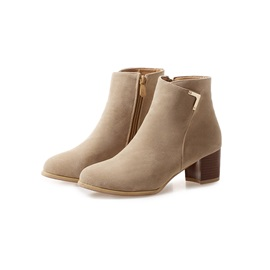 Faux Suede Round Toe Side Zipper Women's Boots