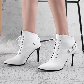 PU Lace-Up Front Stiletto Heel Women's Ankle Boots