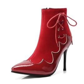 Patchwork Side Zipper Pointed Toe Stiletto Heel Women's Boots