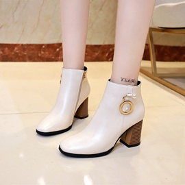 PU Side Zipper Square Toe Women's Ankle Boots
