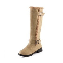 PU Plain Block Heel Women's Knee High Boots