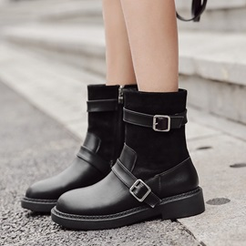 Patchwork Side Zipper Block Heel Women's Martin Boots