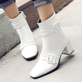 Square Toe Side Zipper Chunky Heel Women's Ankle Boots