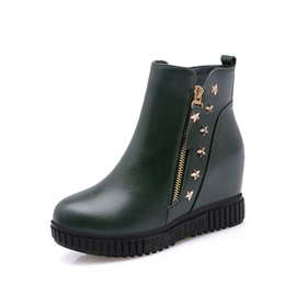 Rivet Round Toe Side Elevator Heel Women's Boots