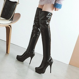 PU Platform Stiletto Heel Women's Knee High Boots