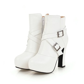 Plain Platform Chunky Heel Women's Ankle Boots