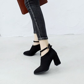 Plain Back Zip Chunky Heel Women's Ankle Boots
