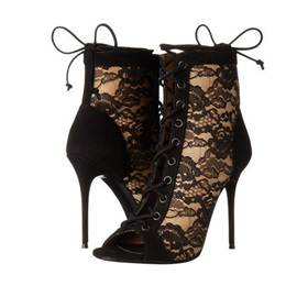 Lace Peep Toe Stiletto Heel Women's Ankle Boots