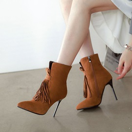 Fringe Side Zipper Stiletto Heel Women's Ankle Boots