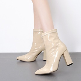 Plain Pointed Toe Chunky Heel Ankle Boots