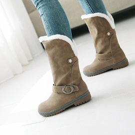 Plain Round Toe Block Heel Women's Snow Boots