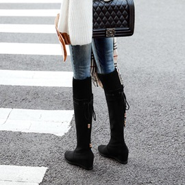 Plain Round Toe Hidden Elevator Heel Over The Knee Boots