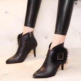 Pointed Toe Side Zipper Women's Ankle Boots