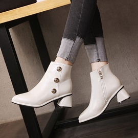 Plain Rivet Pointed Toe Chunky Heel Women's Ankle Boots