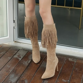 Fringe Pointed Toe Stiletto Heel Women's Knee High Boots