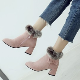 Bow Faux Suede Side Zipper Chunky Heel Women's Boots