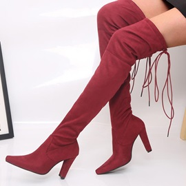 Plain Chunky Heel Lace-Up Back Thigh High Boots