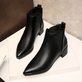 Pointed Toe Plain Elastic Block Heel Women's Chelsea Boots