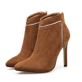 Faux Suede Stiletto Heel Back Zip Women's Ankle Boots