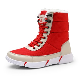 Plain Round Toe Lace-Up Front Waterproof Snow Boots