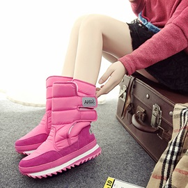 Round Toe Plain Velcro Waterproof Women's Snow Boots