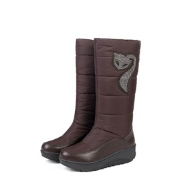 Plain Waterproof Slip-On Round Toe Women's Snow Boots