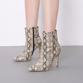 Serpentine Stiletto Heel Pointed Toe Women's Ankle Boots