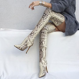 Serpentine Pointed Toe Stiletto Heel Women's Thigh High Boot