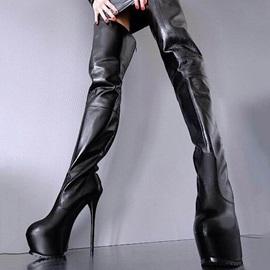 Stiletto Heel Back Zip Women's Thigh High Boots