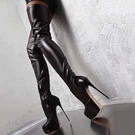 PU Stiletto Heel Round Toe Women's Thigh High Boots