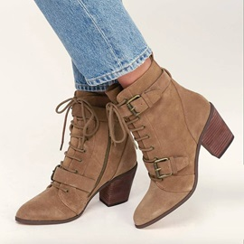 Plain Side Zipper Pointed Toe Lace-Up Women's Ankle Boots