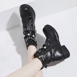 Beads Block Heel Plain Round Toe Women's Martin Boots