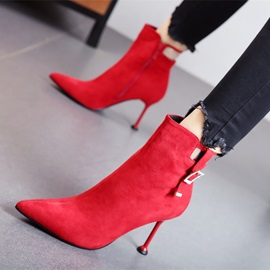 Plain Stiletto Heel Side Zipper Women's Ankle Boots