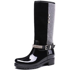 Round Toe Patchwork Block Heel Women's Hunter Boots