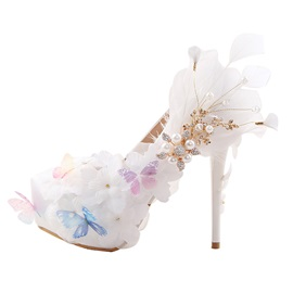 Floral Rhinestone Slip-On Round Toe Wedding Shoes