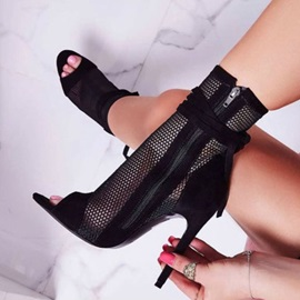 Peep Toe Stiletto Heel Side Zipper Women's Ankle Boots