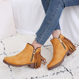 Round Toe Side Zipper Plain Casual Women's Ankle Boots