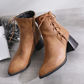 Round Toe Chunky Heel Lace Up Women's Ankle Boots