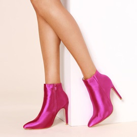Pointed Toe Stiletto Heel Silk Women's Ankle Boots