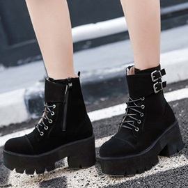 Side Zipper Chunky Heel Plain Cross Strap Ankle Boots