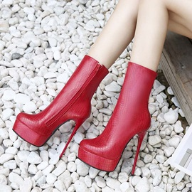 Stiletto Heel Side Zipper Round Toe Platform Mid Calf Boots